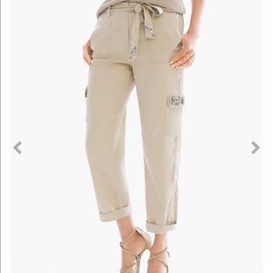 Chico's Casual Jeweled Linen Cargo Pant NWT